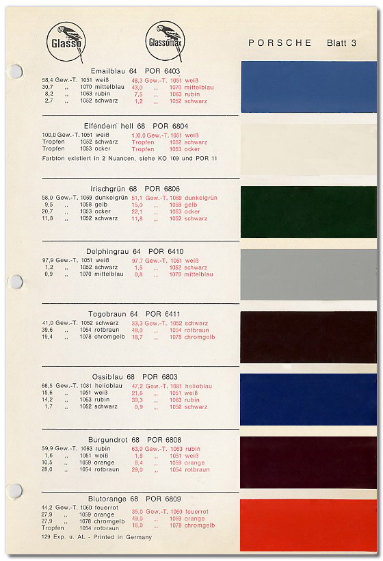 PCA 912 & 912E Register - Porsche Special Order Paint Colors 1964-1969 ...